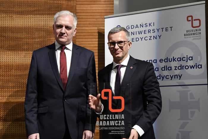 "The Minister of Science and Higher Education Jarosław Gowin and the Rector of the Medical University of Gdańsk Prof. Marcin Gruchała M.D. Ph.D during the ceremonial inauguration of the  ""Excellence Initiative - Research University"" program. Gdańsk, 29.01.2020"